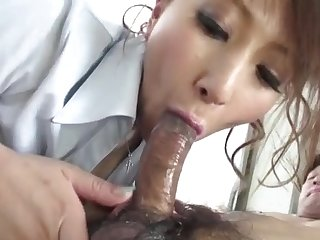 Busty Japanese babe sucks a all of a add up to of cock at work