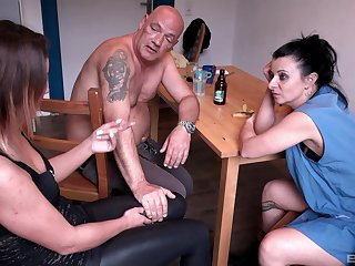 Roasting wife Natalie Hot fucks nearly a threesome up ahead living room table