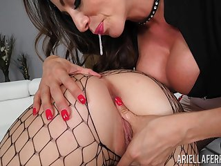 Lesbians in fishnets Ariella Ferrera and Shelby Paris please at all times other