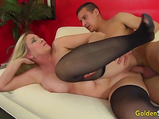 Towheaded mature bi-atch in dark-hued pantyhose, Cala Thirsts is cutting a junior boy like a superslut
