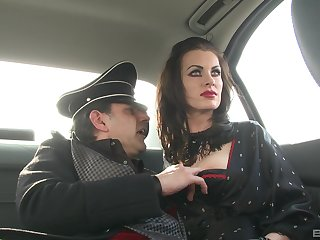 German MILF brunette babes in costumes be captivated by two big lasting cock